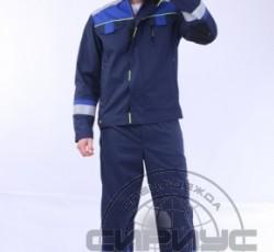 """Костюм """"БОСТОН"""" : куртка кор., полукомб. темно-синий с васильковой и чер. отд."""