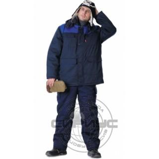 """Куртка """"ПРОФЕССИОНАЛ"""" дл.,зимняя тёмно-синяя с васильковым"""