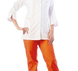 "Костюм ""ЖАСМИН"" женский: куртка, брюки, колпак белый с оранжевым"