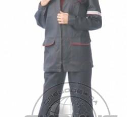 """Костюм """"МЕХАНИК"""" женский: куртка, брюки серый с красным и СОП 25 мм."""