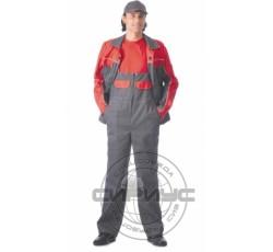 """Костюм """"АВТОМАСТЕР"""": куртка, полукомбинезон тёмно-серый с красным"""