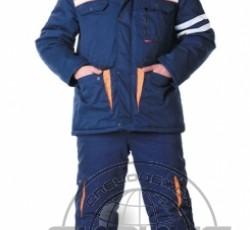 """Костюм """"ЛИДЕР"""" зимний: куртка дл., полукомбинезон синий с оранжевым и СОП"""