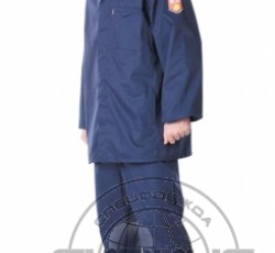 Acid and alkali resistant suit for men: jacket, trousers, hat. Blue