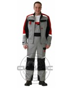 """Suit """"Favourite-Mega"""" for summerr: jacket, bib overall. Grey, black and red with light-reflecting lines (Rodos/Tomboy fabric)"""