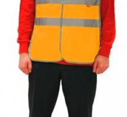 "Signaling multiuse waistcoat  with 4 light-reflecting lines (""Gabarit"" fabric), orange"