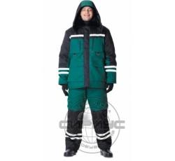 """Костюм """"ЗИМНИК"""": куртка дл.,брюки зелёный с чёрным"""