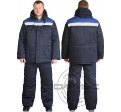 "Костюм ""ЛЕГИОНЕР"" утеп.: куртка дл., брюки темно-синий с васильковой кокеткой"
