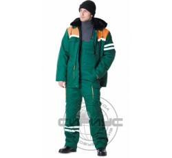 """Костюм """"ЛИДЕР"""" зимний: куртка дл., полукомбинезон зелёный с оранжевым и СОП"""