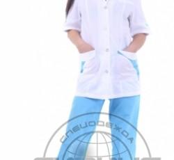 """Костюм """"МАРГО"""" женский: куртка, брюки белый с голубым"""
