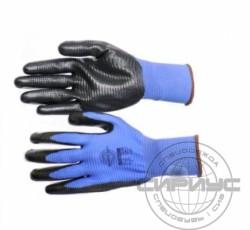 """Перчатки """"РифНит"""" р. XL (нейлон с черным нитрилом, рифленным покрытием,13-й класс вязки)"""