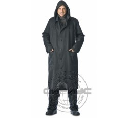 Single-breasted rubber raincoat, black