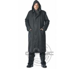 Single-breasted rubber raincoat, black