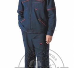 "Костюм ""ПРОФИ-2"": куртка, брюки (саржа, 100%-х/б.) синий с оранжевым кантом"