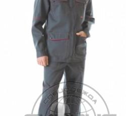 """Костюм """"МЕХАНИК"""": куртка, брюки серый с красным и СОП 25 мм."""