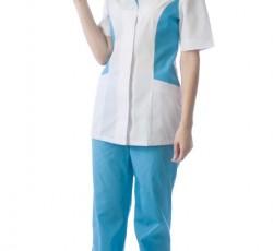 """Костюм """"ФЛОРЕНЦИЯ"""" женский: куртка, брюки, колпак белый с голубым"""