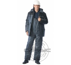 """Костюм """"БАЛТИКА"""": куртка дл., полукомбинезон тёмно-серый с чёрным"""