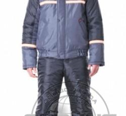 """Куртка """"ГАСТАРБАЙТЕР-2"""" кор.,тёмно-серая с чёрным и СОП"""