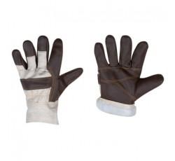 Перчатки утепленные кожаные комбинированные на искусственном меху
