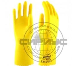 """Перчатки """"БЛЕСК"""" L-F-01 р.S,M,L,XL (12/120) (латекс, хлопковый слой, толщ.0,4мм, дл.300мм) Manipula"""
