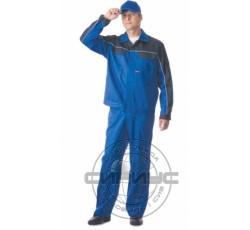"""Костюм """"АВТОМАСТЕР"""": куртка, полукомбинезон васильковый с синим"""