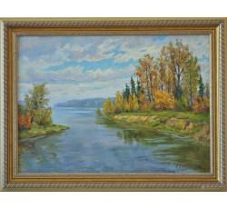"Danilov Anatoly Vasilievich, Honored artist of the Chuvash Republic  (1954)  ""Volga. Kokshaga outflow"""